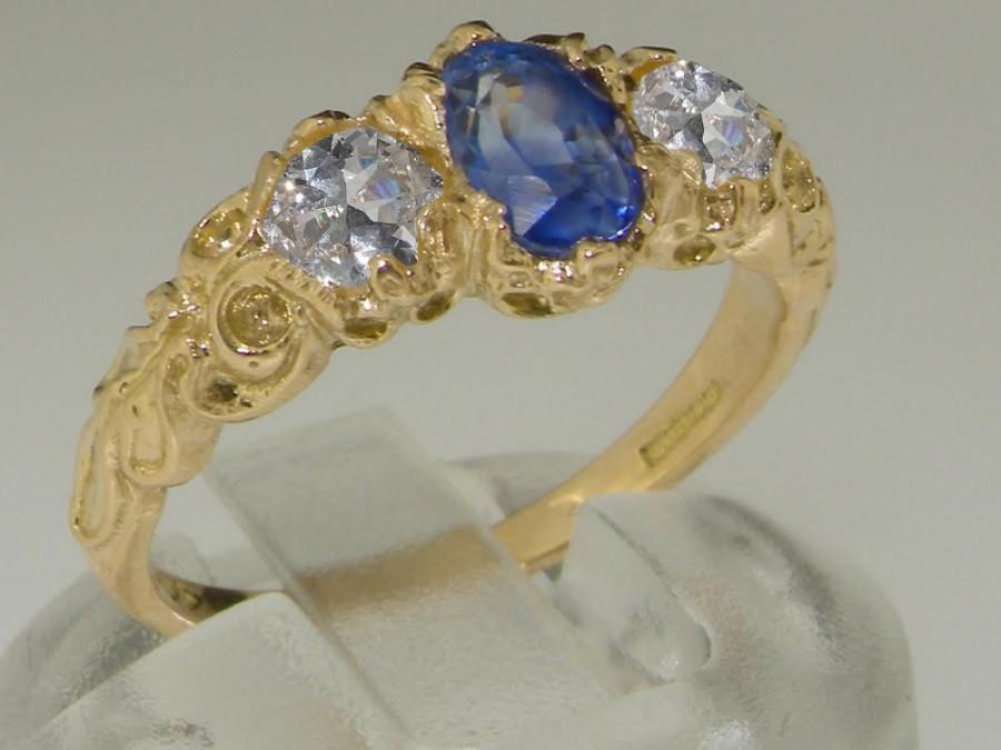 زفاف - 9K Yellow Gold Natural Blue Sapphire with Precious Diamonds Victorian Style Trilogy Ring - Made in England - Customize:9K,14K,18K Gold