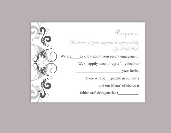 Свадьба - DIY Wedding RSVP Template Editable Word File Instant Download Rsvp Template Printable RSVP Cards Gray Silver Rsvp Card Elegant Rsvp Card
