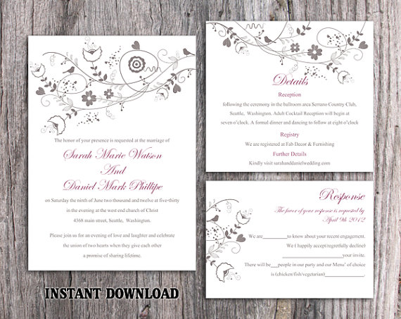 Свадьба - DIY Wedding Invitation Template Set Editable Word File Instant Download Printable Invitation Floral Wedding Invitation Bird Invitation