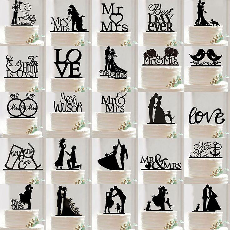 Wedding - Acrylic Mr &Mrs Bride And Groom Wedding Love Cake Topper Party Favors Decoration