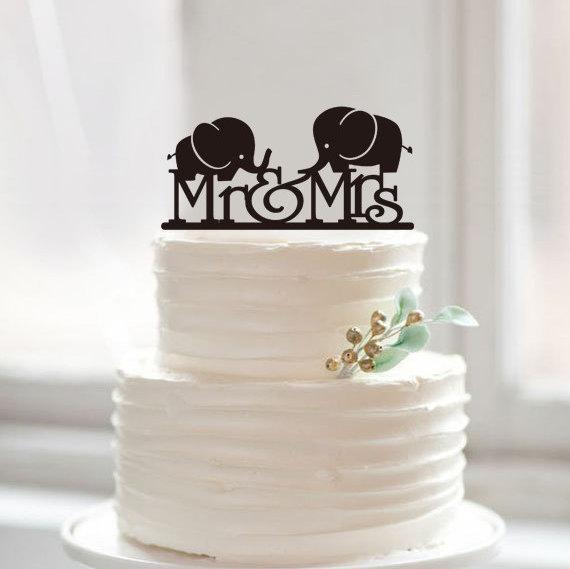 Custom Cute Elephant Cake Toppermr Mrs Cake Topper For Wedding