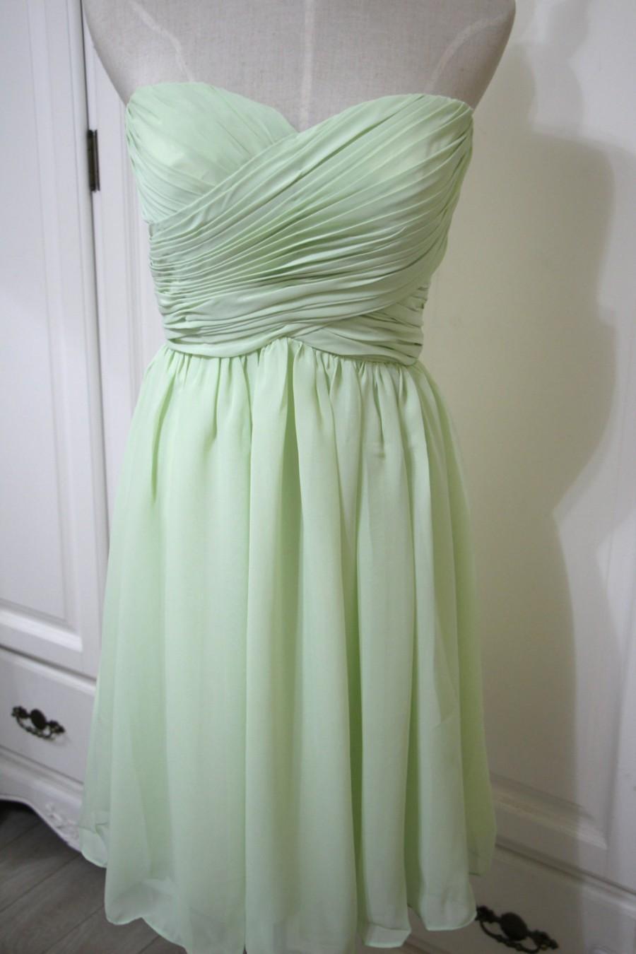 Hochzeit - Mint Green Knee-length Sweetheart Bridesmaid Dress Short Chiffon Strapless Bridesmaid Dress