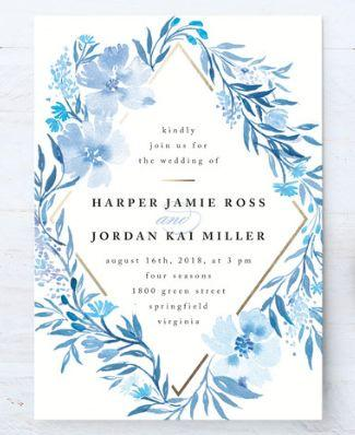 Poetic Blue Customizable Wedding Invitations In Or White By Qing Ji
