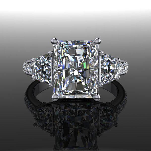زفاف - Charles & Colvard Forever Brilliant Moissanite Three Stone Engagement