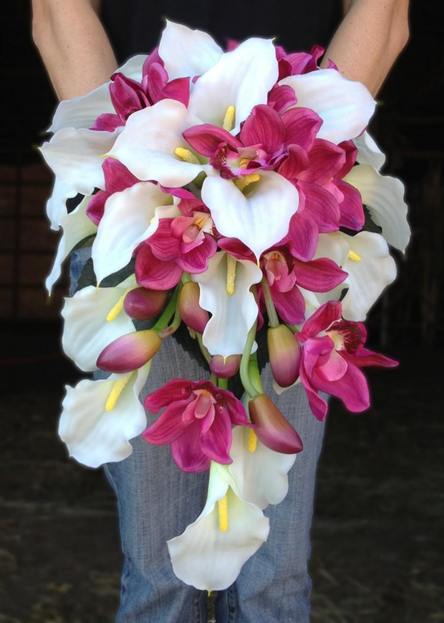 Hochzeit - White Calla Lily and Pink Orchid Cascading Bride Bouquet