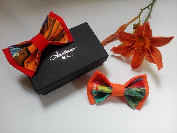 Mariage - Wedding bow ties Set of Two wedding bowties Orange ties Red necktie Ensemble de Deux noeud pappillons de mariage Zwei Hochzeit fliegen