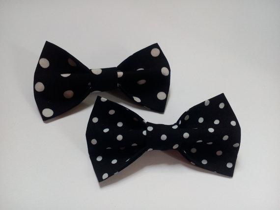 Свадьба - mens black bow ties two polka dot bowties for men wedding ties groom neckties gift for husband men's gift regalo para el marido cadeau ЖЧ12