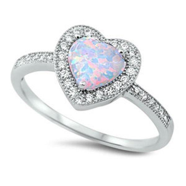 زفاف - 925 Sterling Silver 1.20 Carat White Heart Shape Synthetic Opal Round Russian Ice CZ Halo Dazzling Promise Ring Friendship Anniversary Gift