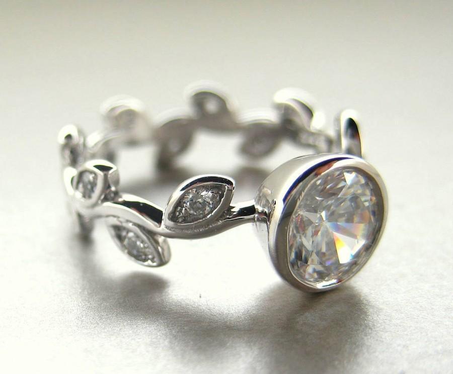 Wedding - White sapphire leaf Engagement ring.  Leaf diamond ring.  Engagement ring with leaves.  White sapphire vine ring.  14k white gold vine ring.