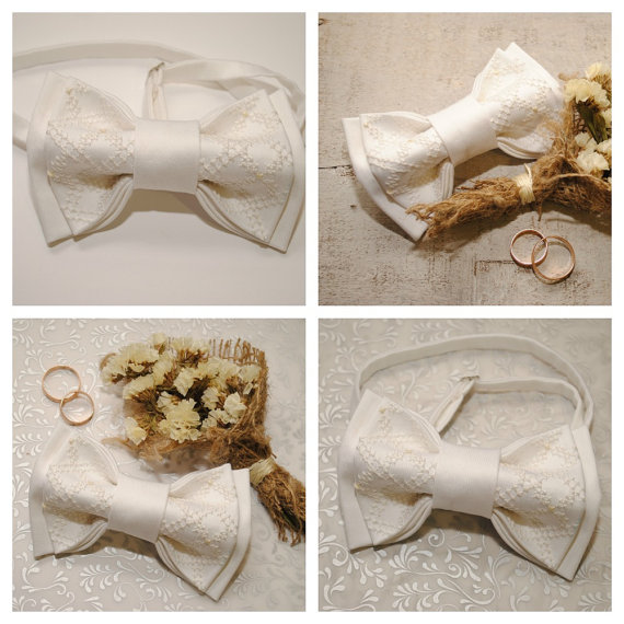 Wedding - Embroidered white bow tie Groom's bowtie Classic wedding Well to coordinate with stuff in Pearl Ivory Alabaster Snow Cream Egg shell Daisy