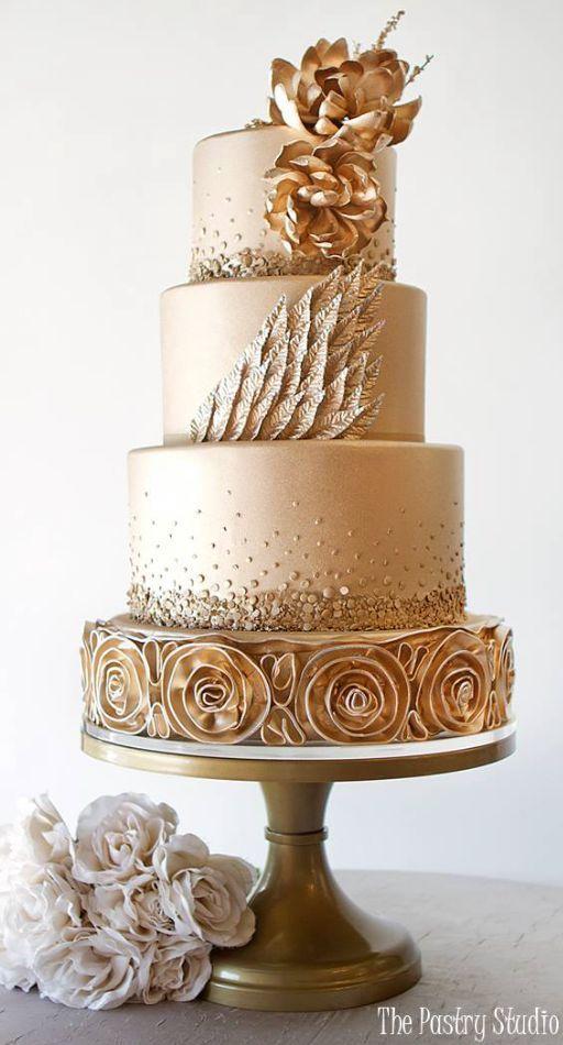 Свадьба - Gold Wedding Cake Idea Via The Pastry Studio