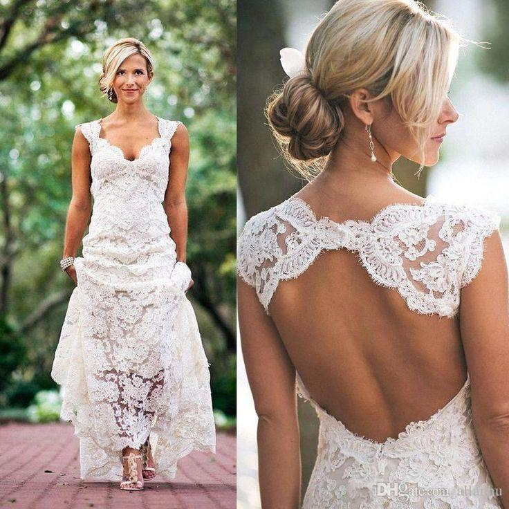 2016 Full Lace Wedding Dresses Country Style Pluging V Neck Cap