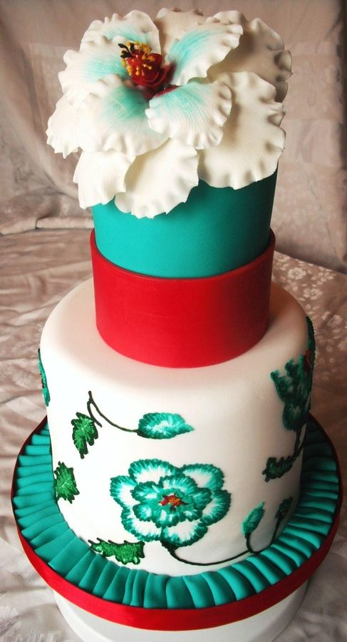 Wedding - Brush Embroidery Flowers — Birthday Cakes