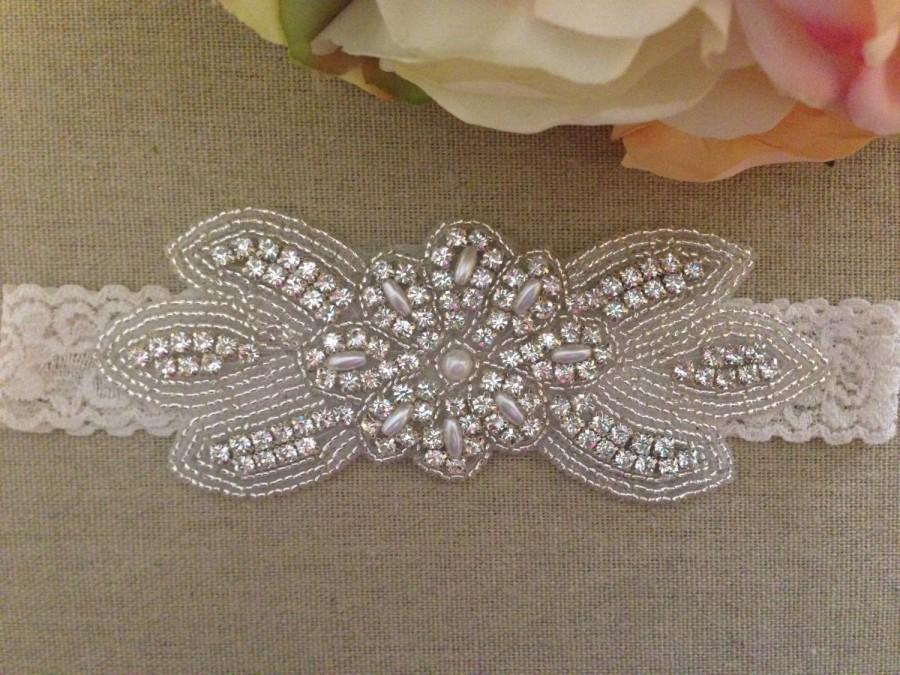 Свадьба - Wedding Garter - Bridal Garter - Pearl and Crystal Rhinestone Garter