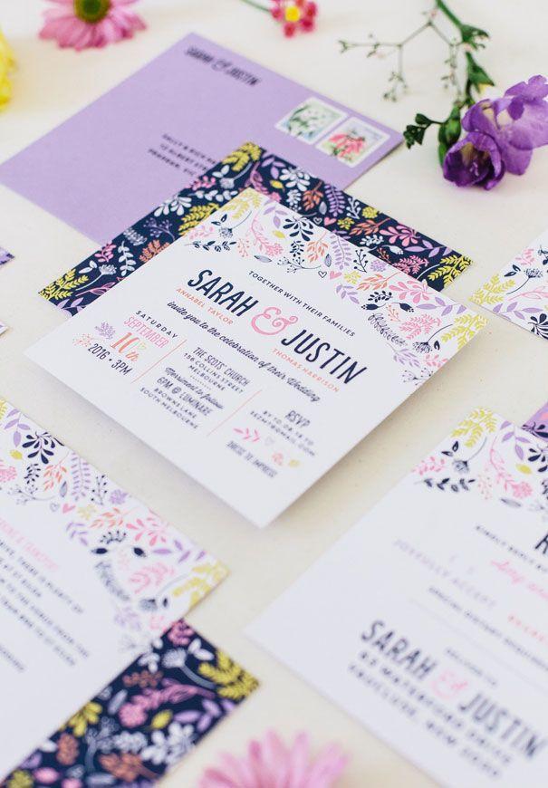 زفاف - Floral Print Wedding Invitation
