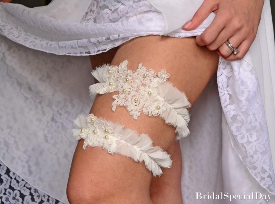 Wedding - Wedding Garter, Wedding Garter Set, Ivory Lace Garter, Wedding Garters, Handmade Garter, Bridal Garter Set,Ivory Bridal Garter,Unique Garter