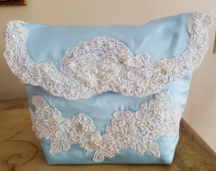 زفاف - Wedding Handbag / Blue Satin & French Lace Bridal Purse /  Handmade OOAK Wedding Handbag/  Something Blue