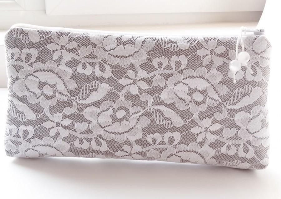 Wedding - Romantic Clutch for Bride, White Lace Bridal Purse, Gray Wedding Handbag Gift for Bride, Brauttasche