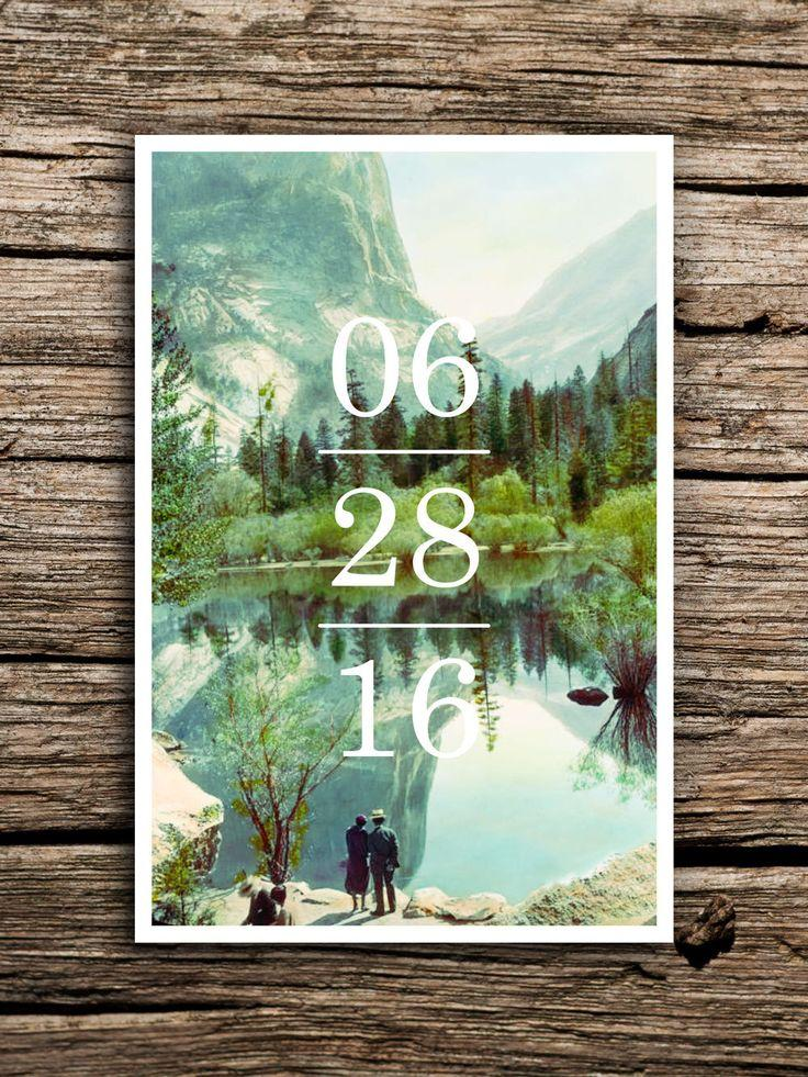 Свадьба - Yosemite Save The Date Postcard // Yosemite National Park Wedding Save The Dates California Postcard Minimalist Vintage Scenic Factory Made