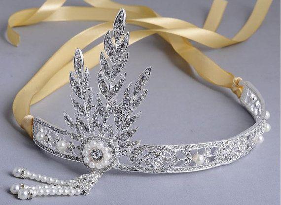 Свадьба - Gatsby Headpiece, Gatsby Headband, Flapper Headband, Roaring 20s, Wedding Jewelry, Bridesmaid, Tiara, Gold, Silver, Prom, Gift
