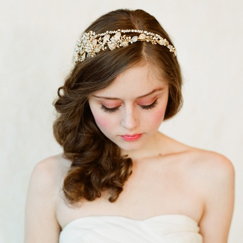 Mariage - Bridal crystal, pearl and bead headband - Double band golden tiara - gold or silver - Style 147 - Ready to Ship