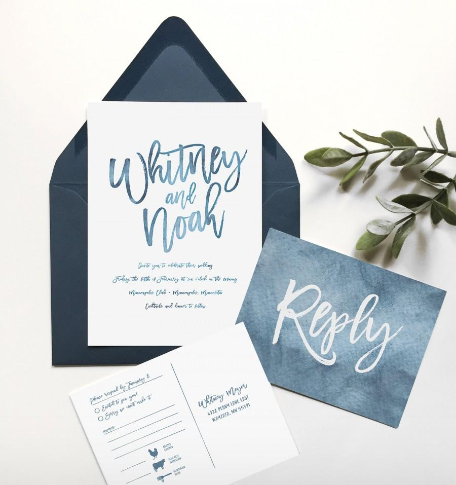 Blue Wedding Invitation - Navy Blue - Wedding Invitation ...