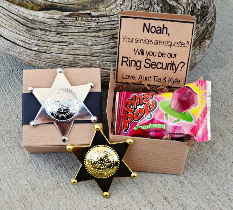 Свадьба - Ring POP ~ Ring Security Will You Be My Ring Bearer Boxed Invite Time To Suit Up Rustic POP the Question Badge
