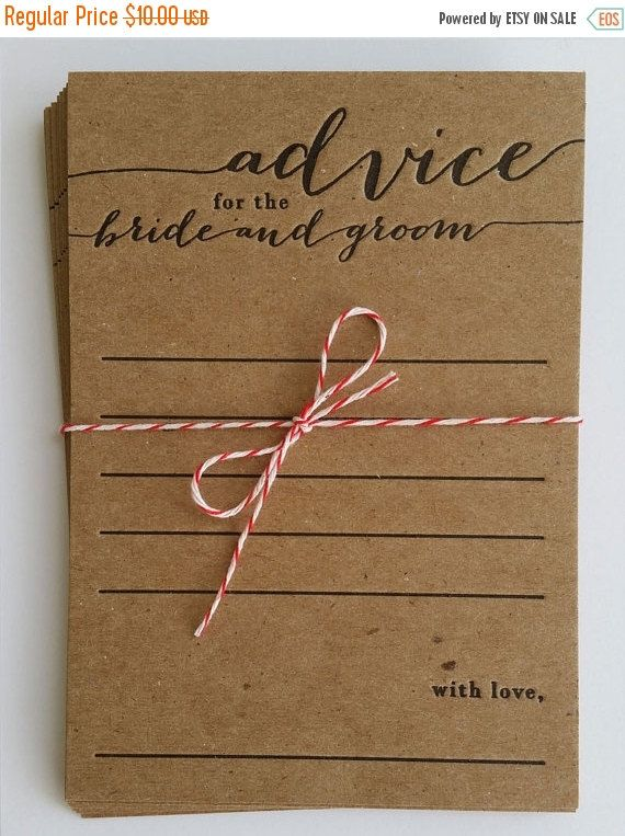 Advice For The Bride And Groom Letterpress 10 Pack Bridal Shower Rustic Country Keepsake Marriage Card Wedding