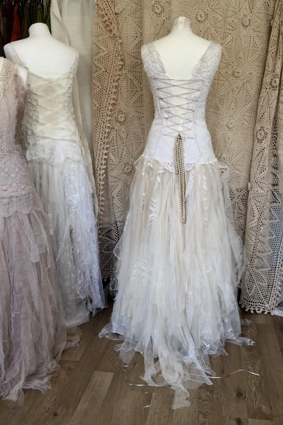 Special Wedding Dress Unique Boho Bridal Gown Statement Victorian White Lace Upcycled Doillies