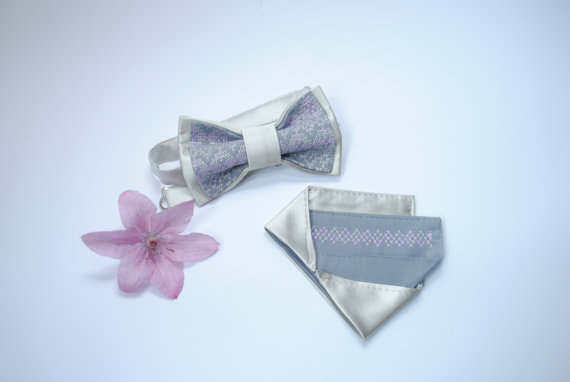 Wedding - Bow tie and matching pocket square Grey satin Pre folded pocket square Pretied bow tie Men's bowtie Wedding accessories for groom Groomsmen