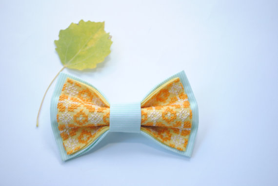 Wedding - Embroidered bowtie Mint striped yellow Fabric Brown Ivory pattern Gift for her Gift ideas for him Brother's gifts for birthday Men's ties