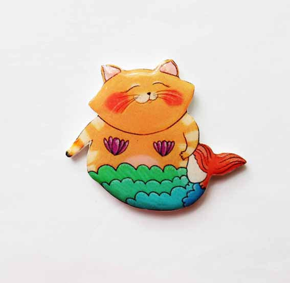 Mermaid Cat Brooch Broach Pin Mermaid Jewelry Cat Jewelry Free