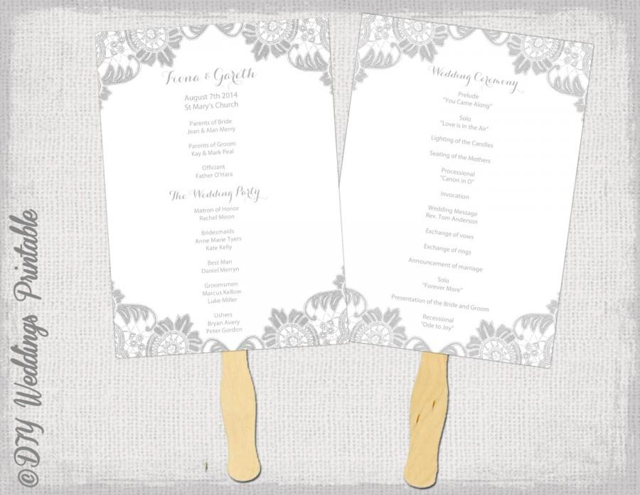 Wedding Fan Program Template Antique Lace Gray DIY Order Of Ceremony Silver Printable YOU EDIT Word Download Programs