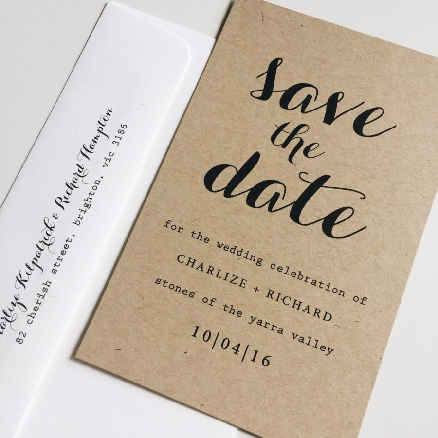 Mariage - Deposit : kraft save the date cards, typography save the date, rustic save the date, calligraphy save the date, wedding save the date cards