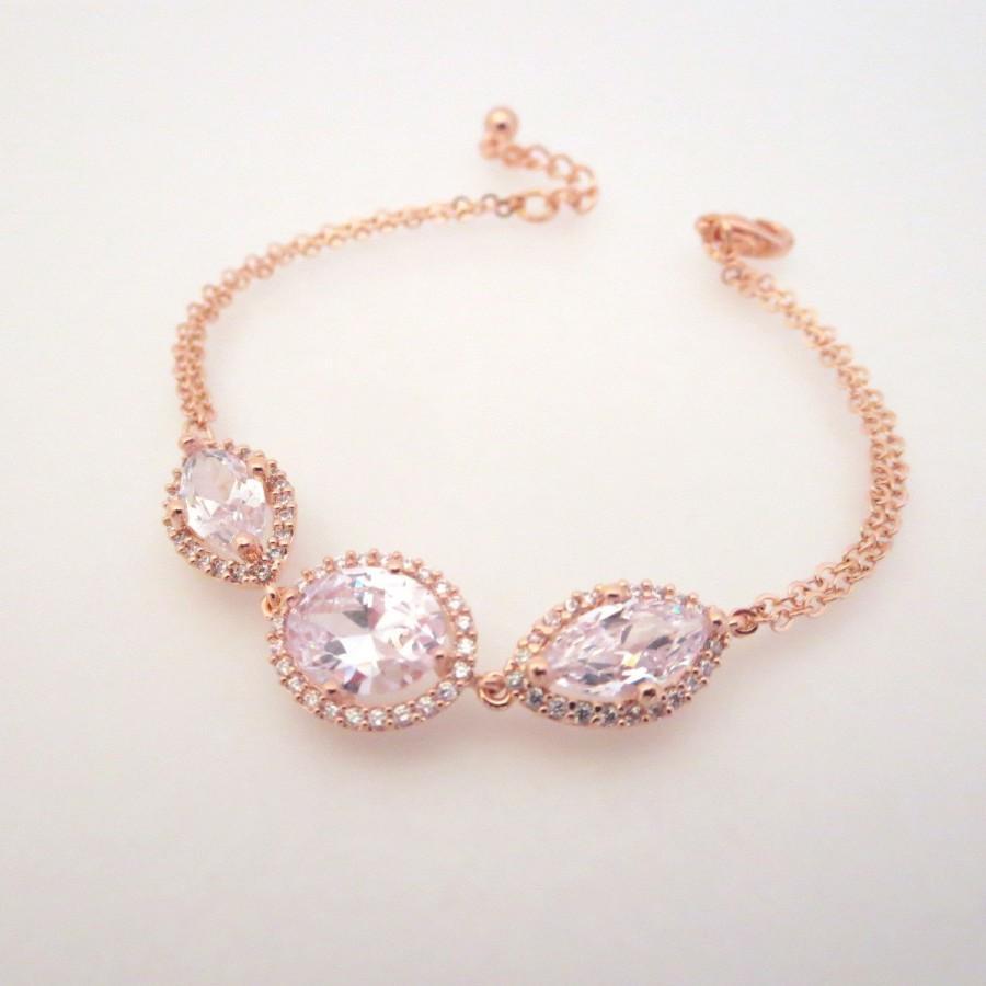 Hochzeit - Rose Gold Bangle bracelet, Rose Gold Wedding bracelet, Rose Gold Bridesmaid bracelet, Wedding jewelry, Crystal bracelet, Simple bracelet