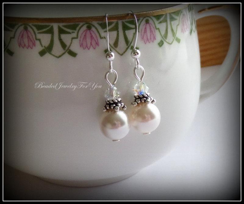 Свадьба - Bridesmaid Earrings: Bridal Party Jewelry, Wedding Jewelry, Bridesmaids Earrings, Wedding Earrings, Pearl Bridal earrings, Bridesmaid Gift