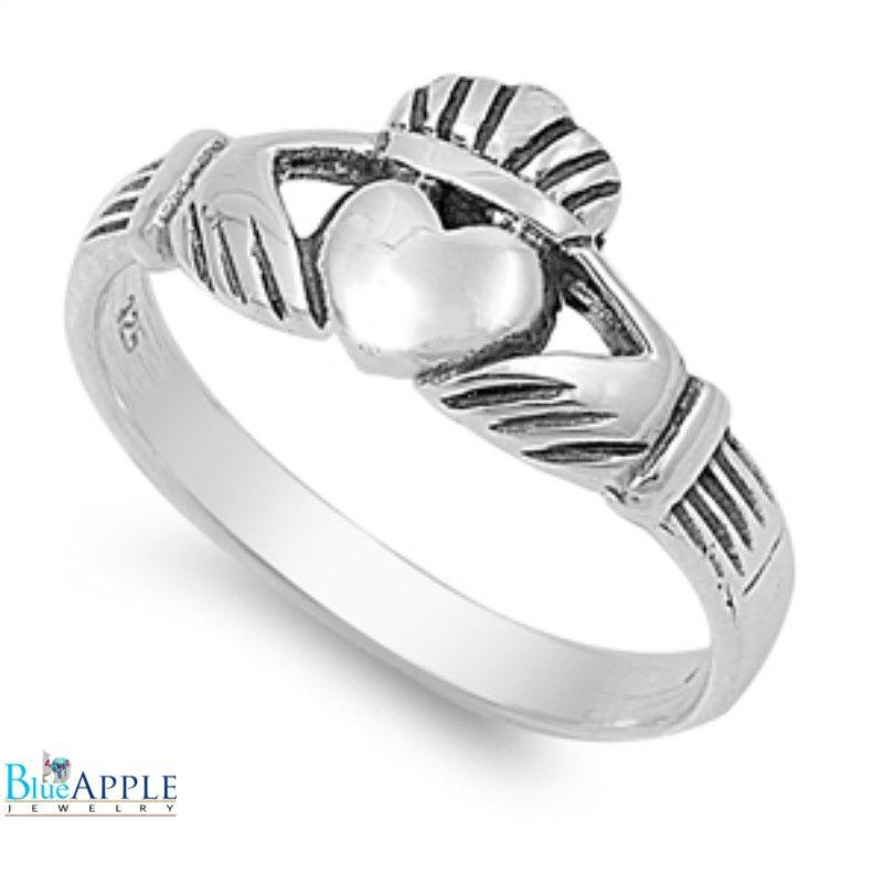 Hochzeit - Claddagh Ring 925 Solid Sterling Silver Simple Plain Claddagh Promise Wedding Engagement Irish Dublin Fidelity Claddagh Ring