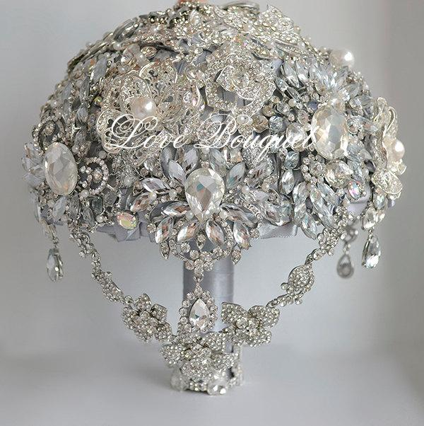 Wedding Brooch Bouquet Gray Silver Jewellery Rhinestone Crystal Cascading Bridal Great Getsby