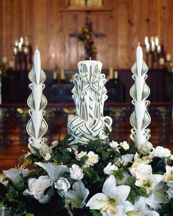 Wedding - 10 Inch Carved Wedding Candle Set Custom
