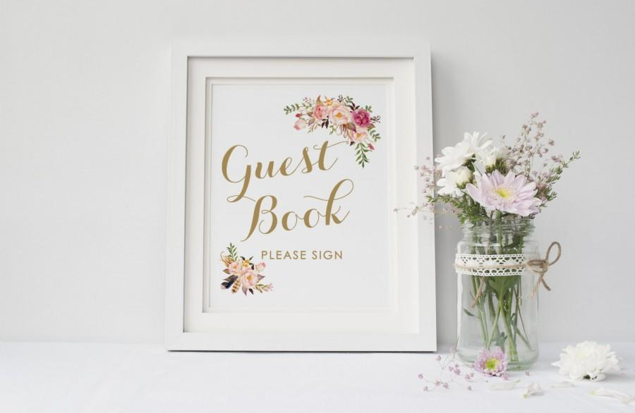 Printable Wedding Guest Book Sign Wedding Guest Book Sign Boho