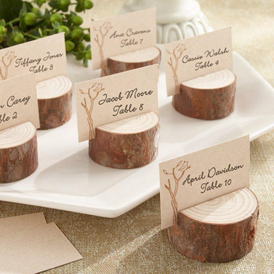 25 Rustic Wood Tree Slice Wedding Decor Place Card Holders Disc – Round Wedding Card Box