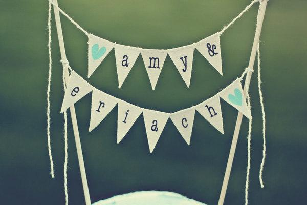 Wedding - personalized wedding cake topper, bunting banner