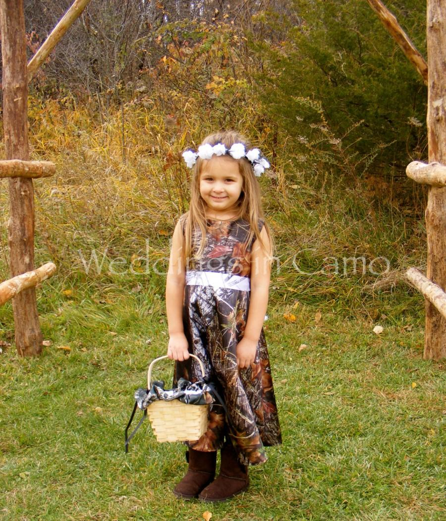 Mariage - CAMO Flower Girl Dress in MOSSY OAK Satin with ribbon sash