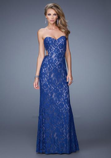 Wedding - Open Back Sweetheart Appliques Lace Navy Fuchsia Sleeveless Floor Length