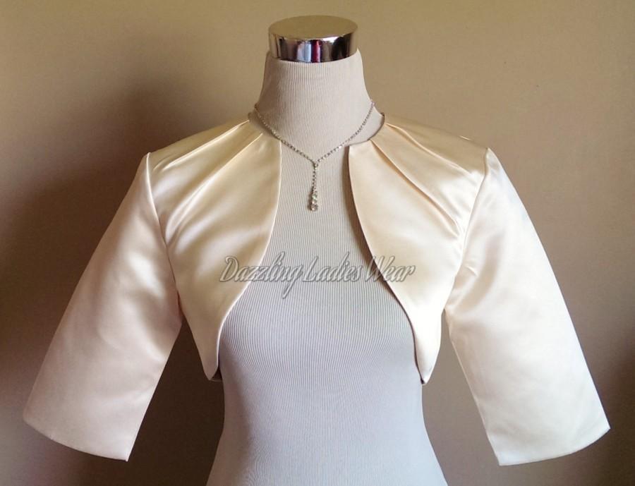 Nozze - Light Gold / Champagne Satin Bolero Pleated Neck Fully Lined - UK 4-26/US 1-22 Shrug/Cropped Jacket/Wrap/Shawl/Stole/Tippet