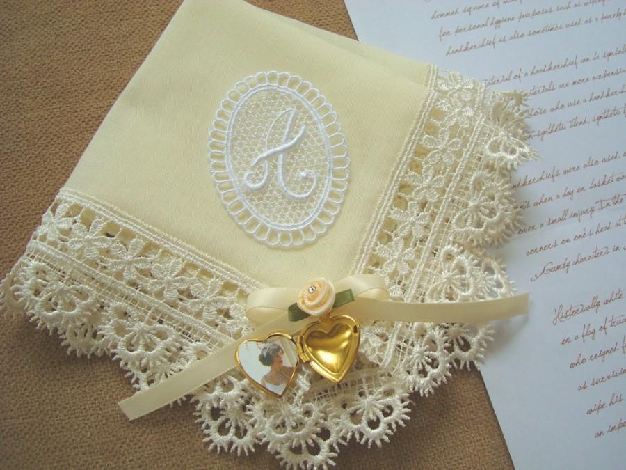 Mariage - Grandmother wedding gift Hanky Personalized grandmother gift Monogram hankie Ivory handkerchief Grandma gift Grandmother handkerchief