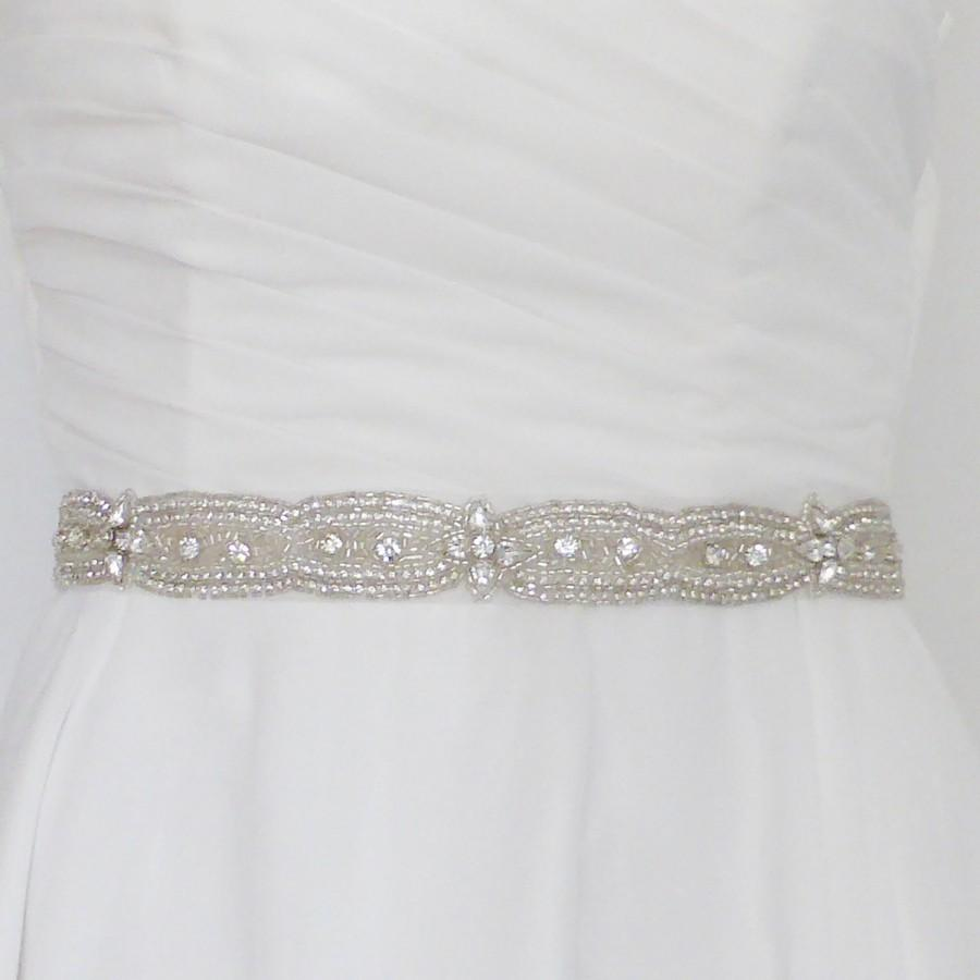 Mariage - Bridal sash belt, jewelled belt, thin bridal belt, wedding belt, wedding sash, skinny bridal sash with Swarovski crystals Glam