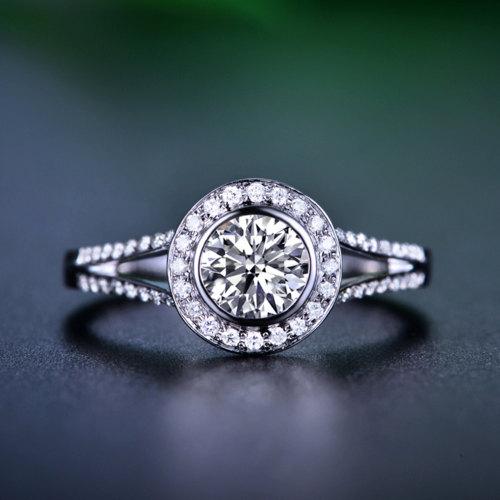 Свадьба - Round Cut Halo Diamond Engagement Ring 14k White Gold or Yellow Gold Art Deco Natural Diamond Ring