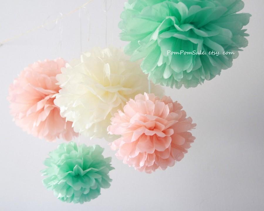 Hochzeit - Mint Peach Wedding - 12 Tissue Paper Pom Poms - Fast Shipping - Wedding / Bridal Shower Decoration Flowers