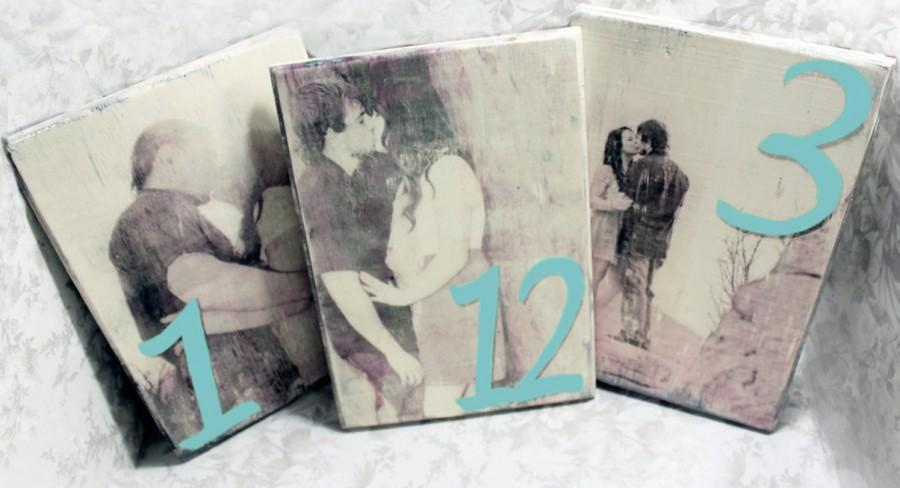 Mariage - Vintage Personalized Table Numbers on Wood (10)